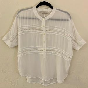 Loft XXS White Short Sleeve Blouse